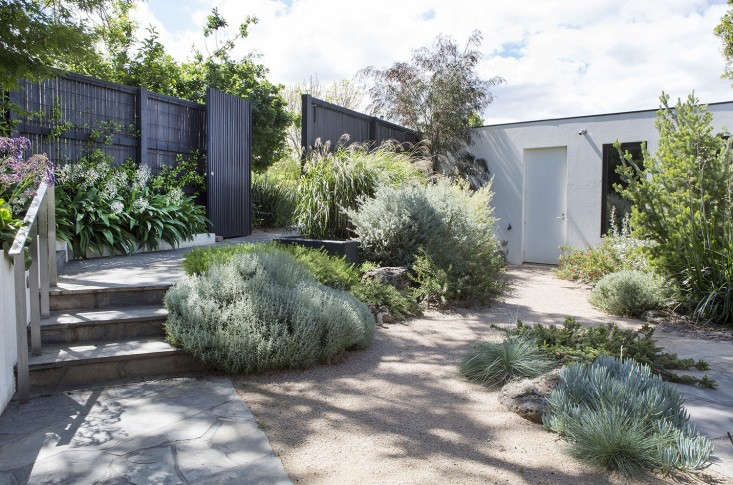 Agray-water irrigation system collects water from the washing machine and showers for use in a new garden in theMelbourne suburb Toorak, designed by Grounded Gardens. For more, see Designer Visit: A Courtyard to Covet in a Modern Melbourne Garden.