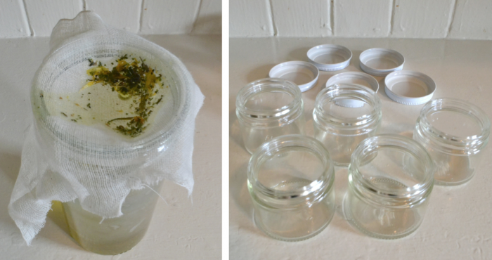 Strain the oil into a glass jar through the cheesecloth (L). Reheat the filtered oil over low heat, adding the src=