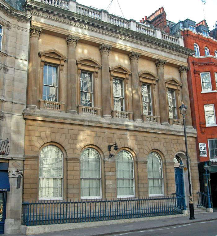 The Carlton Club, London. Colored railings look fantastic on stand-alone buildings, but it is considered antisocial if you live in a terrace or square, to paint the railings outside your house an individual color.