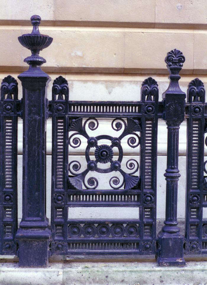 The railings of the Foreign Office, pre–Patrick Baty. After taking samples he discovered that they had been Venetian red for about the first forty years and, thankfully, they were stripped back and the color reinstated.