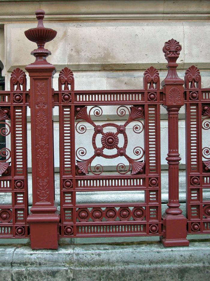 The glorious Venetian red ironwork of the Foreign Office. There is a myth that Queen Victoria&#8