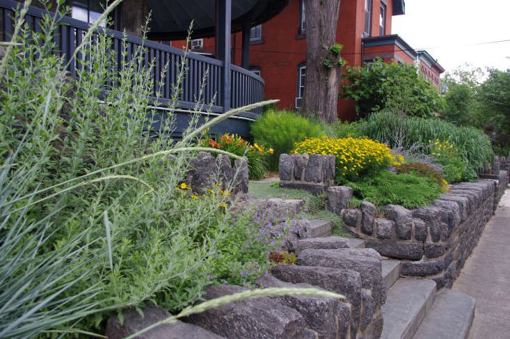 In Philadephia, a steep grade change required retaining walls at a property&#8