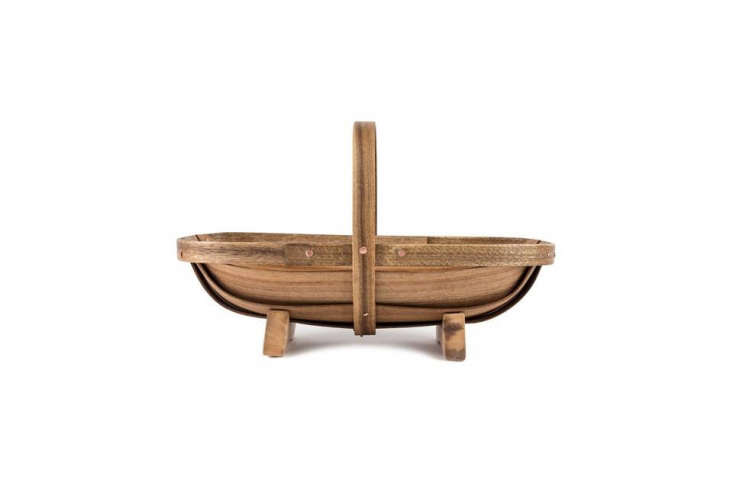 TheSmall Garden Trug made of myrtle wood and copper nails measures \14 inches long; \$58.\2\1 from Archer Hard Goods.