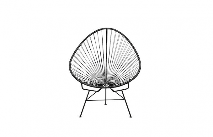 An Acapulco Black Egg Outdoor Chair has a black powder coated steel tube frame and woven black PVC cord; it is \$\279 from CB\2.