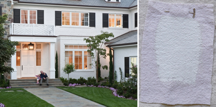 Interior designer Meg Joannides of MLK Studio in LA recently completed this Brentwood Park home. On the exterior, she used Sherwin-Williams Pure White,a true white that barely hints toward warm. The charcoal gray shutters are painted in Benjamin Moore Onyx.