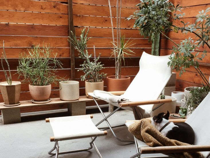 At his home in Hancock Park, LA-based designer Kirill Bergart created an elegantly elevated plant stand with simple concrete blocks. For more, see Midcentury Modern Mashup: At Home with a Rising Design Star in LA on Remodelista.