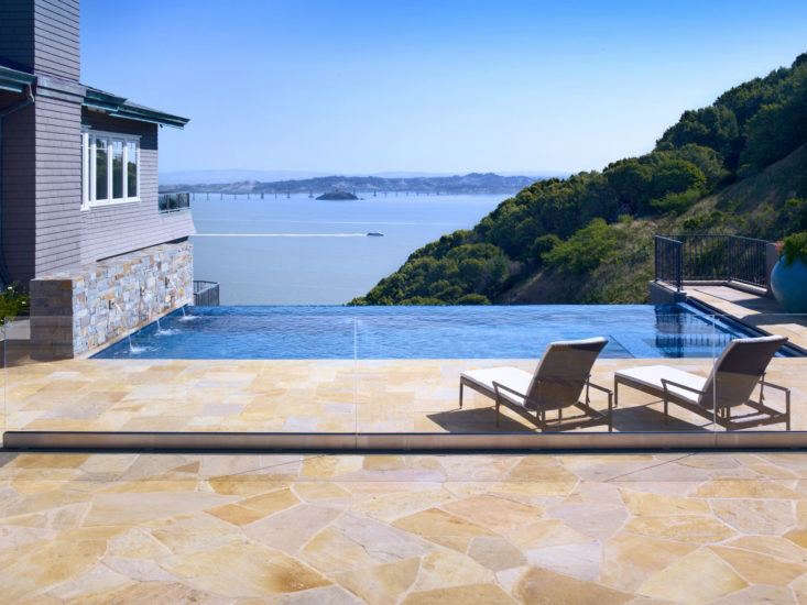 A pool with an infinity edge; Lewis sited it to take advantage of a dramatic view. Photograph by John Sutton.