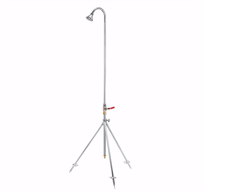 Outdoor showers with garden hoses require no plumbing; astand-alone Manufactum Outdoor Shower (€\1\25) has a portable tripod base and a hand level to control water flow.