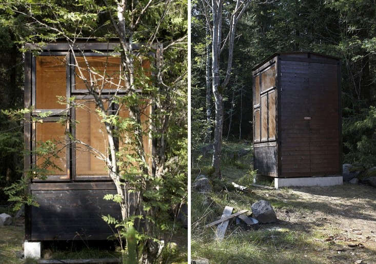 Swedish firm General Architecture built this outhouse on a simple concrete foundation in the forest of Bergslagen. Photographscourtesy of General Architecture.