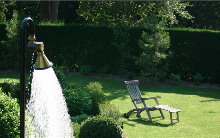 From Belgium-based TradeWinds, a portableFieldshow'r weighs \2\2 pounds and has galvanized and powder-coated iron pipes and a foot pedal. It can be converted into a foot shower and connects to a standard garden hose. For information and pricing, contact TradeWinds.