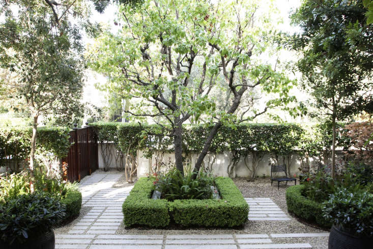 Designer Naomi Sanders edges a gravel hardscape with tightly clipped borders of box to create a dramatic contrast between gray and green. Photograph by Jennifer Roper.For more of this garden, see Before & After: A Grande Dame in LA&#8