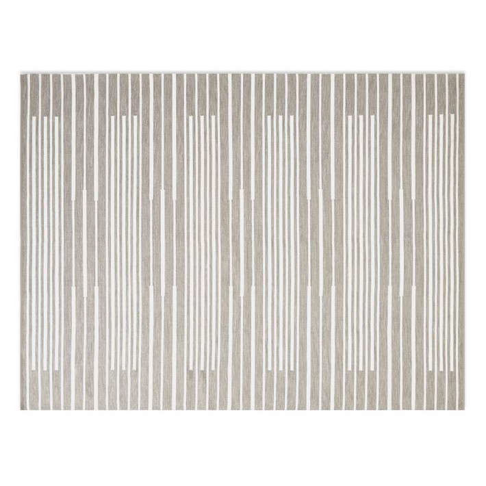 Perennials&#8\2\17; Piano Stripe Indoor Outdoor Rug is \$\1,795 for the 6-by-9-foot size at Williams Sonoma Home.