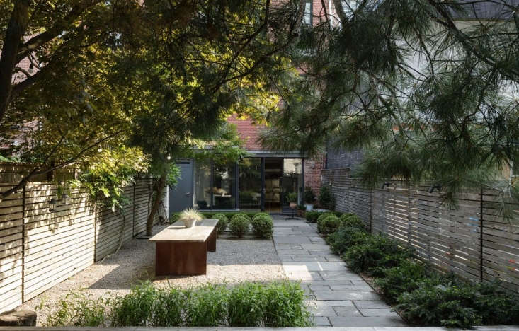 Paved with gravel, a patio complements adjacent bluestone pavers. Boxwood balls planted in straight rows create symmetry in this Brooklyn garden enclosed by a slatted wood fence. Photograph by Matthew Williams for Gardenista. For more of this garden, see our Gardenista Book.