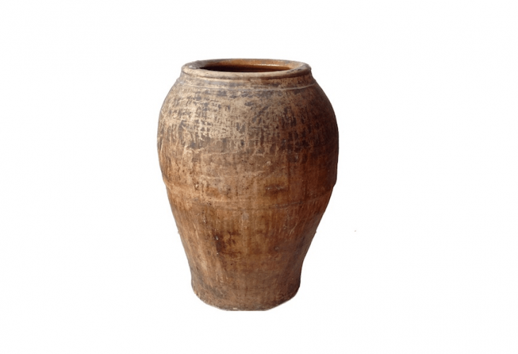 Large Spanish Rustic Terra Cotta Oil Jar Rainwater Collection Urn