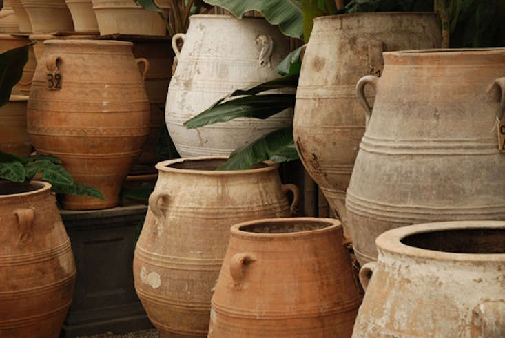 A large selection of Vintage Greek Pithari is available at Eye of the Day Garden Design Center in Carpinteria, California; contact Eye of the Day GD for information and prices.