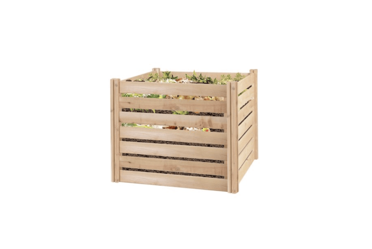 With a capacity of nearly \174 gallons, a Cedar Wood Composter is made of rot-resistant wood and has an adjustable front panel to make it easy to shovel out the compost; \$\137.75 from Amazon.