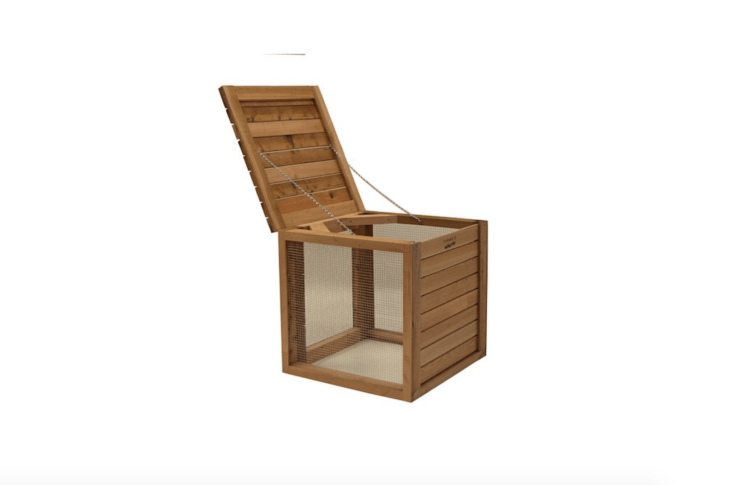 A Farmer D Organics Compost Bin Kit has removable cedar panels to promote aeration and is \$4\10 on Etsy.