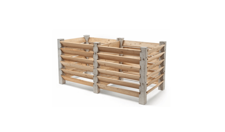 Made of larch slats attached to steel-reinforced concrete posts, anExpansion Compost Box is like Legos for the garden. You can add on bins to make a custom compost system to fit your garden. A two-bin set is €358.