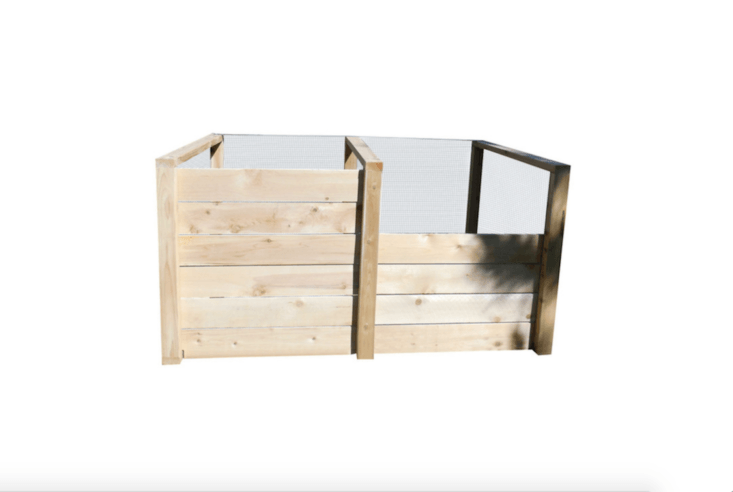 A cedar double-bin Steve's Earth Engine Cedar Composter with two covers is \$384 from Cedar Composters.