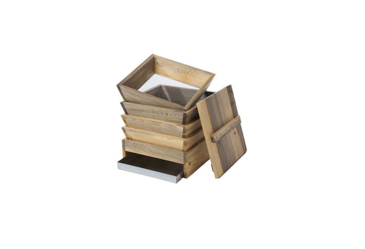 A small pineFour-Bin Worm Composter with four \16-inch-square stacking bins and a custom drip tray is \$\130 from Sacred Resource via Etsy.