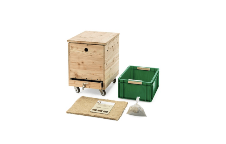 A Worm Box made of oil larch wood has four rubber wheels, a plastic drawer insert, a hemp cover mat, and a drainage spout. It comes with a bag of lime-rock flour and is €395 from Manufactum.