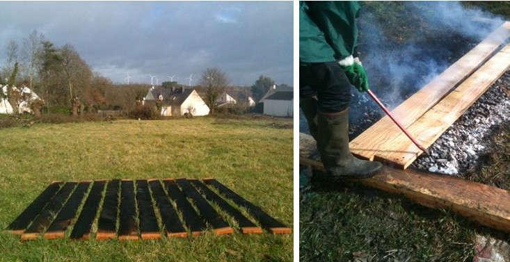 Preparing wood for siding. Photograph courtesy ofNeM Architectes.