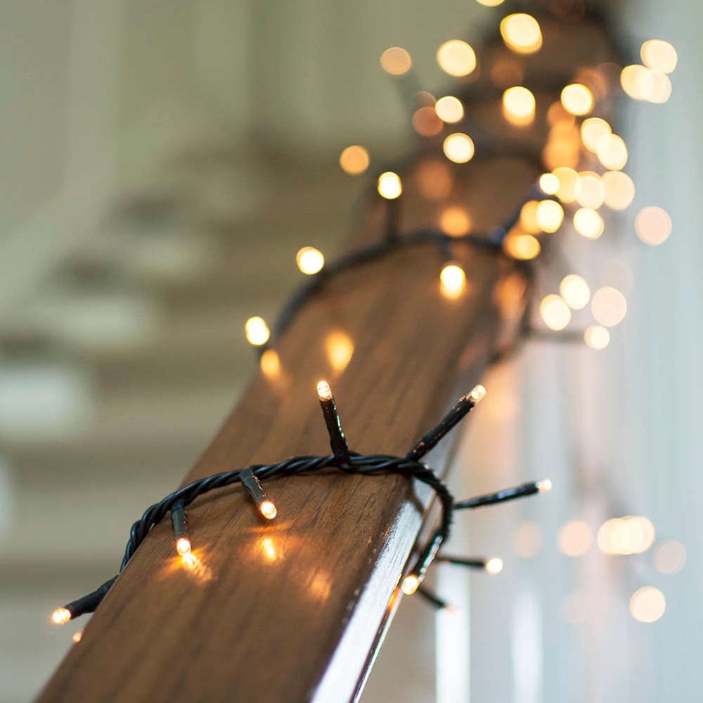 With water-tight connectors, a strings of \25 Cool White Twinkle LED Christmas Lightsis \$\1\1.99 from Christmas Lights Etc.