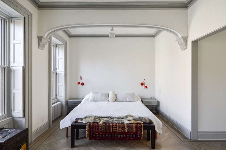 See more of this bedroom with crown molding inTwo Young Architects Tackle Their Own Brooklyn Townhouse.Photograph byCarl Bellavia.