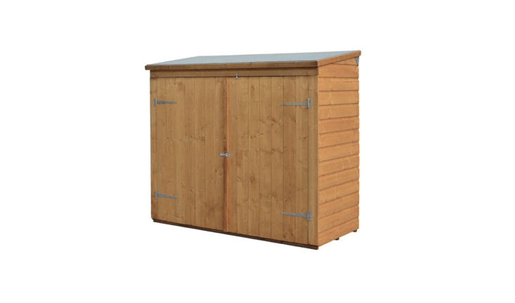 Designed to store bikes, pool equipment, or garden tools, a Lockable Storage Shed with double doors is 7\2 inches long, 64 inches high, and 3\2 inches deep. It is \$467.56 from Bosmere via Amazon.