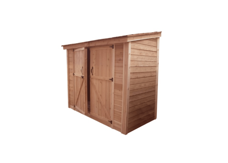 With two wide doors, an unfinished western red cedar SpaceSaver Shed by Thos. Baker measures 8 by 4 feet and is $