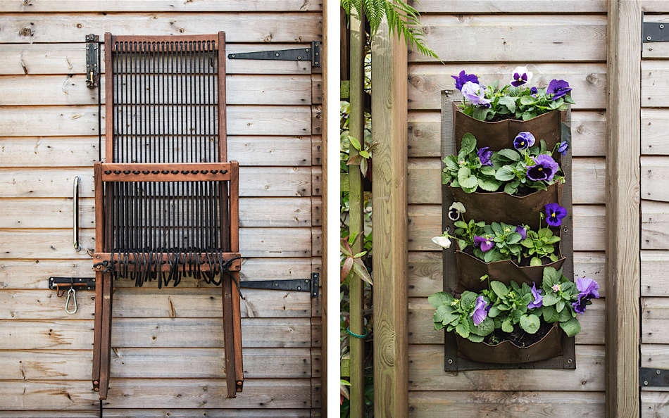 Above L: The Brommö Chaise from Ikea folds away and hangs neatly on the exterior of the shed. Above R: My most successful forays into color happen on a small scale.
