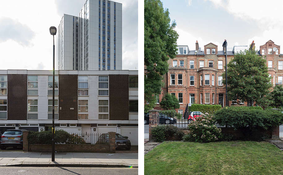 Above L: The view of our modern terraced house from outside. Above R: Our front yard and the view of the buildings across the street that weren&#8