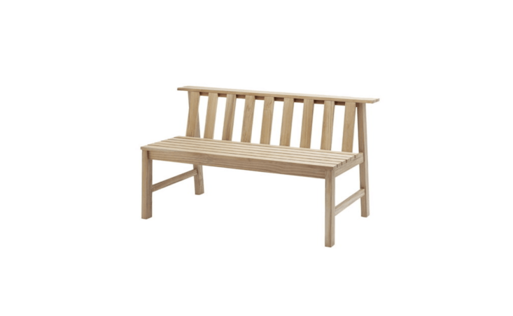 Designed by Aurelian Barbry for Skagerak, a Plank Bench is about 60 inches wide; $loading=