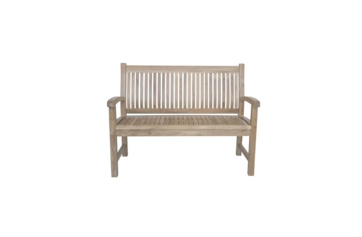 A teak Sahara Garden Bench is 47 inches long; \$689.99 at All Modern.
