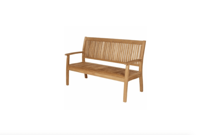 With simple, modern lines, a Monaco Teak Outdoor Garden Seatfrom British designer Barlow Tyrie measures 47.\25 inches long and is \$\1,995 from Didrik&#8\2\17;s.