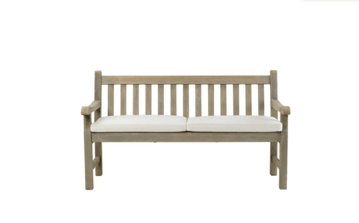 Made in Italy, a teak Notting Hill Garden Benchis about 60 inches long and comes in a choice of finish (either pickled or natural teak). For more information and US distributors, see Ethimo.