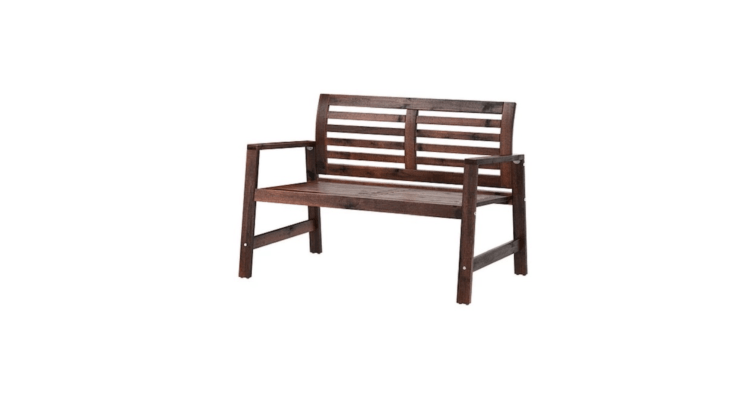 An acacia woodApplaro two-seat bench is 48 \1/8 inches long, available in brown or white; \$95 at Ikea.