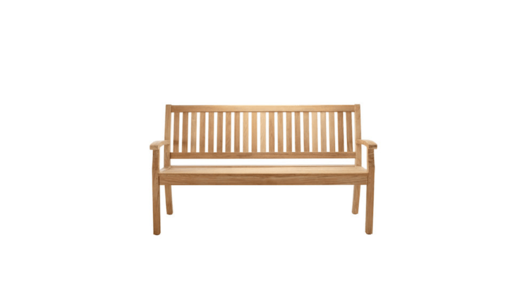 Danish designer Povl Eskildsen&#8\2\17;s teak wooden Windsor Bench measures approximately 63 inches long (also available in a shorter length). For more information and prices, see Solpuri.