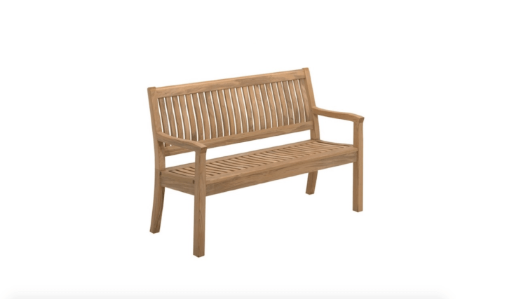 From Danish designer Povl Eskildsen, a Kingston Teak Benchis 5\2.5 inches long and \24.5 inches deep; for more information and pricing, see Gloster.