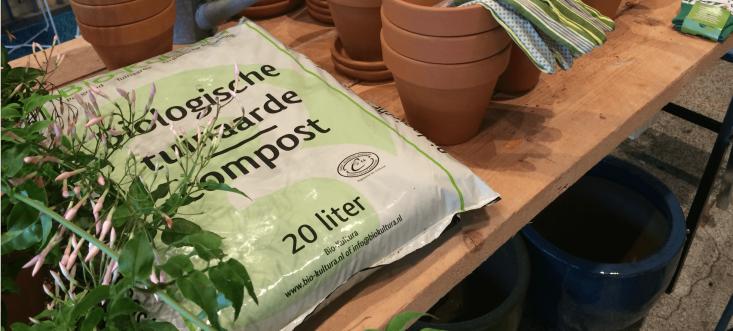 For sale, organic compost and potting soil only. Photograph via De Balkonie