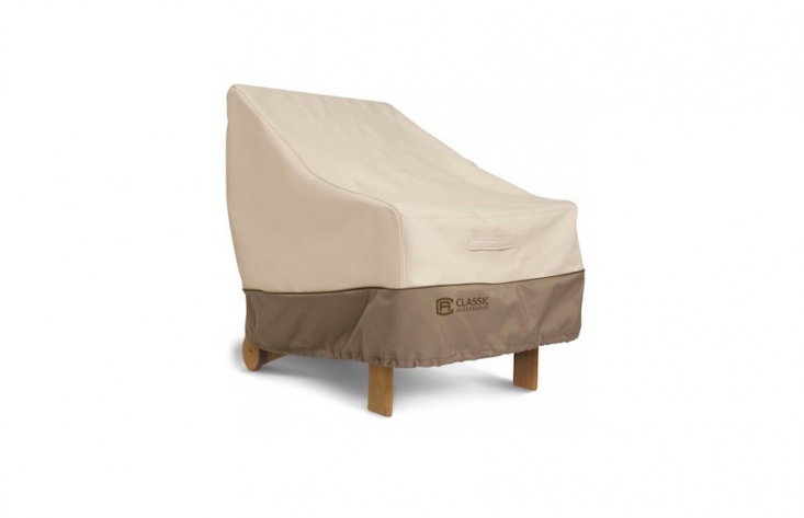 A Veranda Lounge Chair Cover is available in four sizes at prices starting at $34.93 from Classic Accessories. Inexpensive generic outdoor furniture covers are also plentiful through Amazon, Home Depot, Lowe&#8