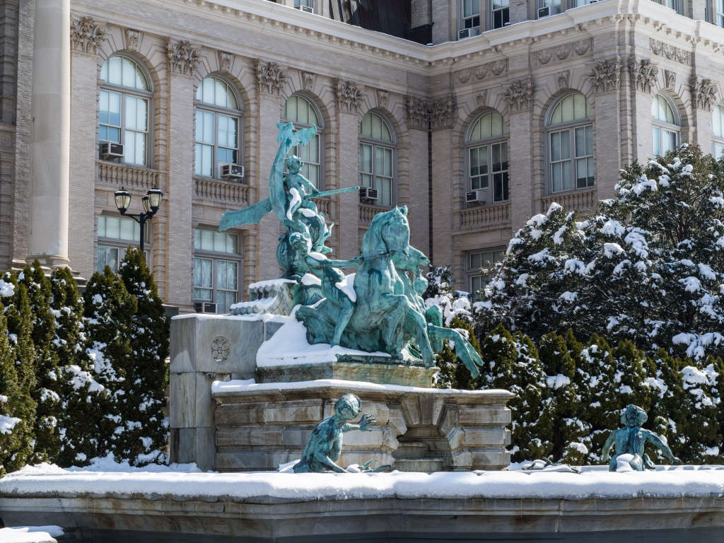 192,Designed by the American Renaissance sculptor Charles E. Tefft, the Lillian Goldman Fountain of Life is a dramatic composition featuring sea nymphs, seahorses, cherubs, and a startled mermaid and merman. The water falls into two basins of white marble.