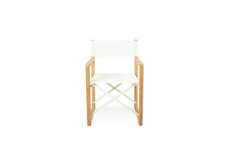 A Folding Director Chair has a teak frame and is on sale for \$\179.99 at All Modern.