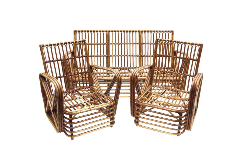 Vintage Bamboo Rattan Outdoor Furniture Set