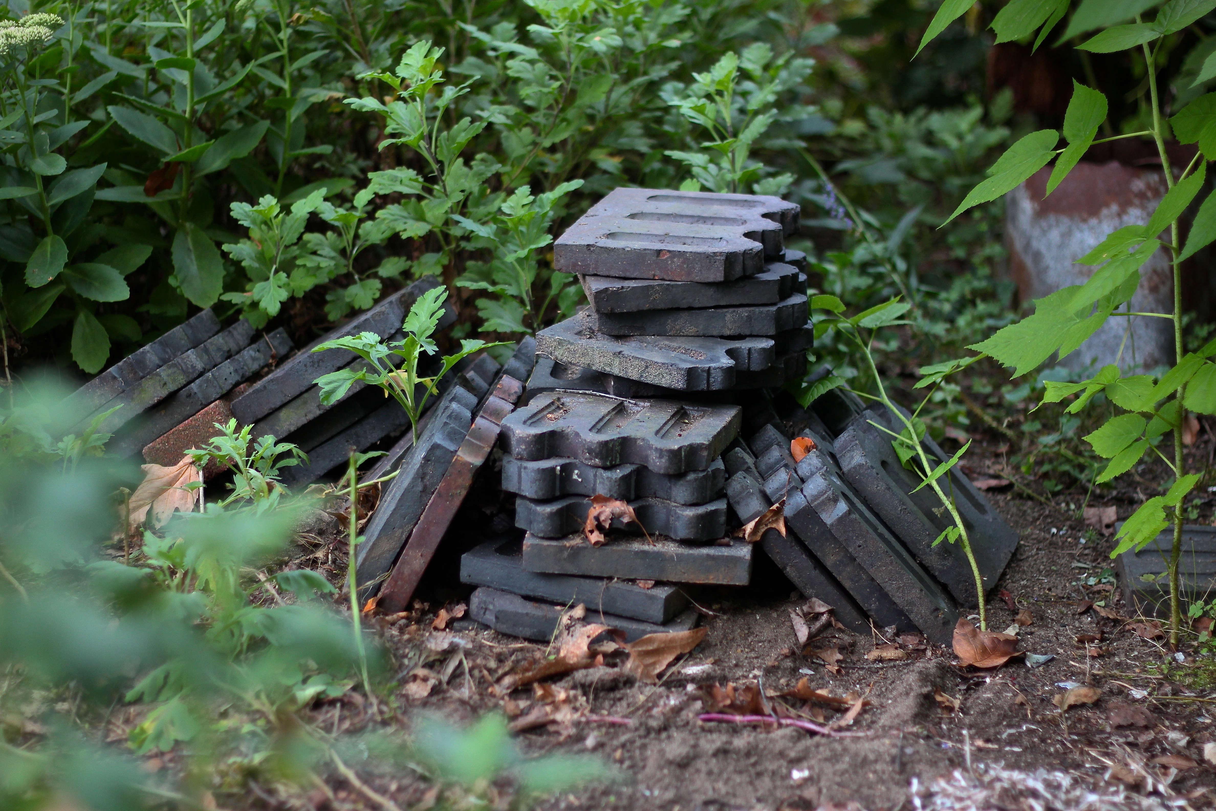 A pile of English Garden tiles awaits a more permanent home.