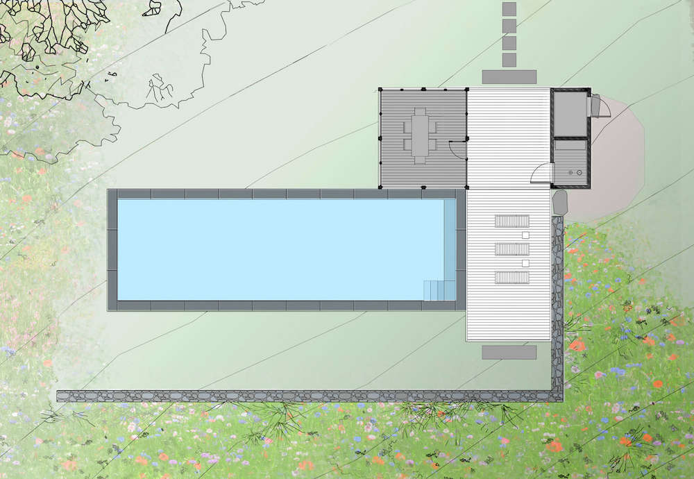 The pathway at the top of the site plan leads from the vegetable garden and farmhouse.