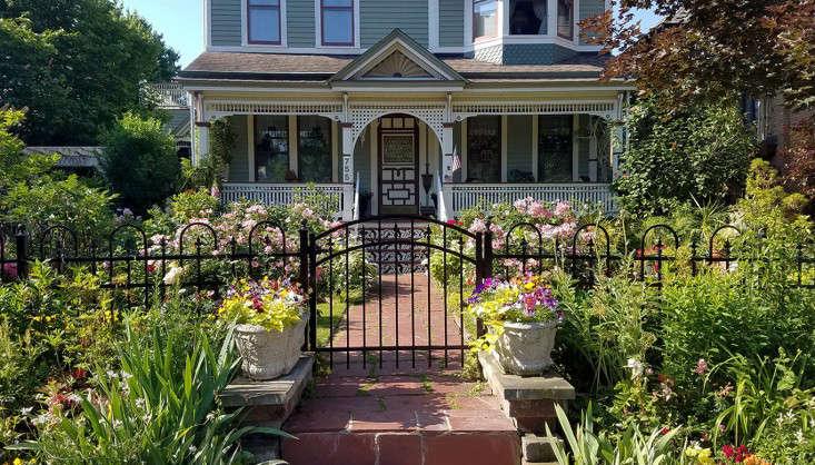 buffalo-front-garden-curb-appeal-facade-victorian-iron-fence-twin-planters-marie-viljoen-gardenista