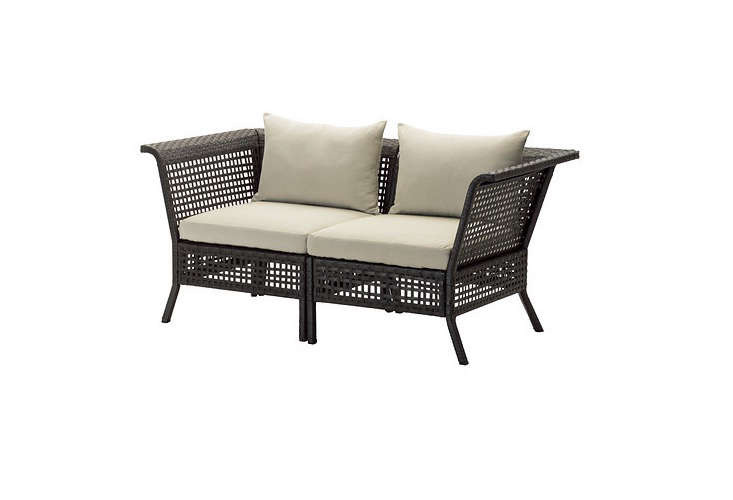 From Ikea, Kungsholmen Hållö outdoor seating collection includes a loveseat, a three-seater, and a sectional sofa.All pieces in the Ikea linehave aluminum frames and polyester webbing. Ikea&#8\2\17;sKungsholmen Hållö Loveseat with beige outdoor cushions is \$\260.
