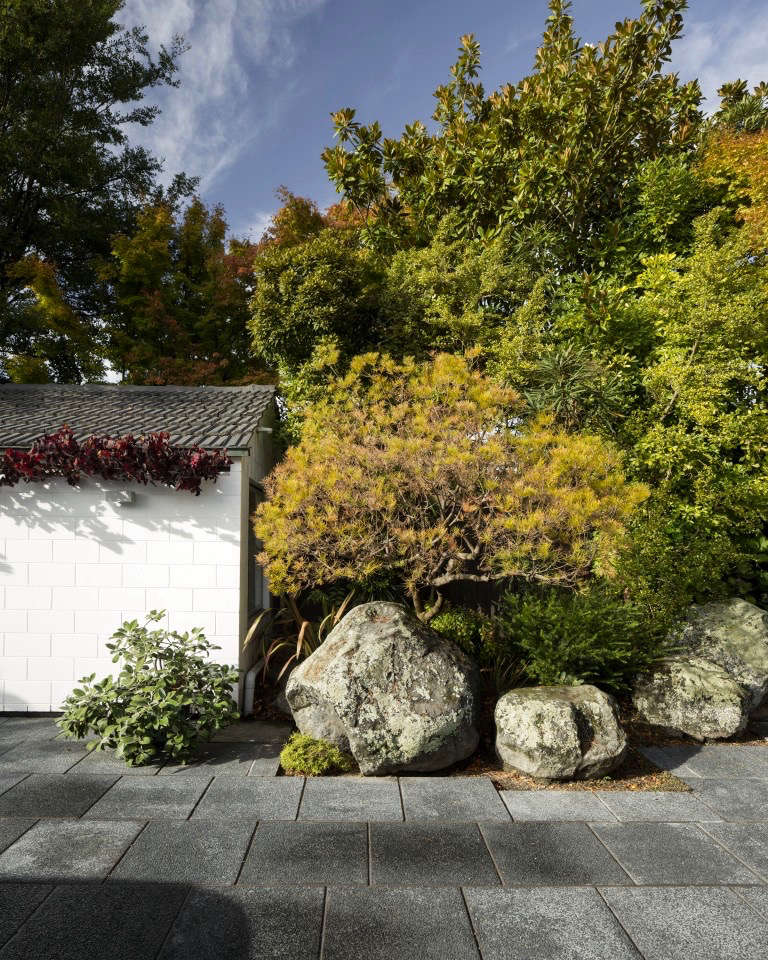 New Zealand natives and stone pavers accent the small outbuilding. Photograph by Sam Hartnett.