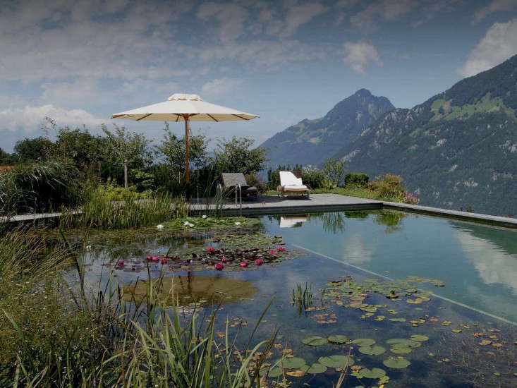 In Switzerland near Lake Lucerne, a natural swimming pool supported by a retaining wall on a steep slope &#8\2\20;appears to almost float weightlessly out over the valley,&#8\2\2\1; the designers say. Photograph courtesy of Biotop.